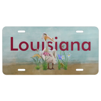 Louisiana, White Pelican, Flowers, Customized Text License Plate
