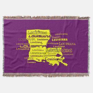 Louisiana Yellow State Purple Font Background Throw