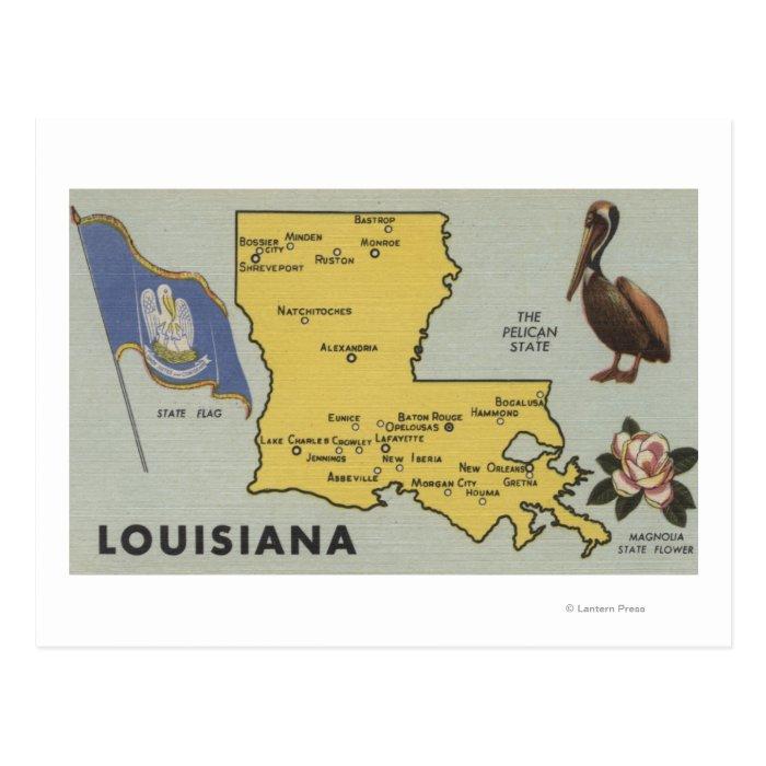 LouisianaDetailed Map of StateLouisiana Postcard