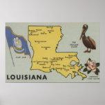 LouisianaDetailed Map of StateLouisiana Posters