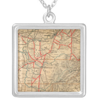 Louisville and Nashville Railroad Square Pendant Necklace