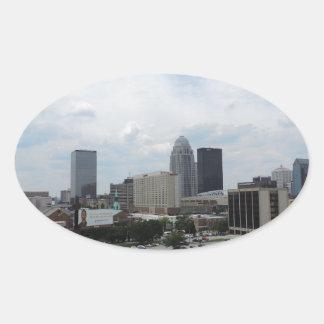Louisville downtown skyline oval sticker
