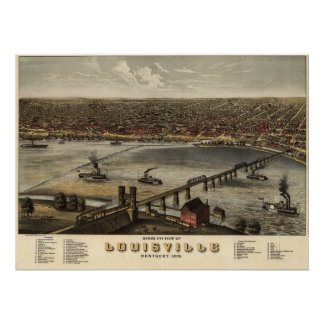Louisville Kentucky 1876 Antique Panoramic Map Poster