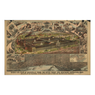 Louisville Kentucky 1883 Antique Panoramic Map Posters