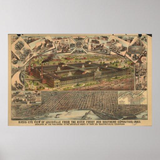 Louisville Kentucky 1883 Antique Panoramic Map Poster