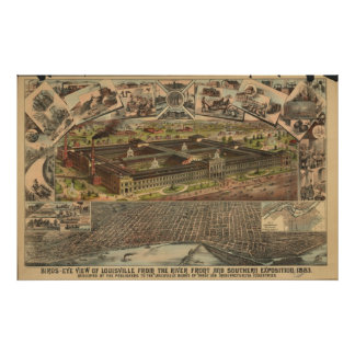 Louisville Kentucky 1883 Antique Panoramic Map Poster