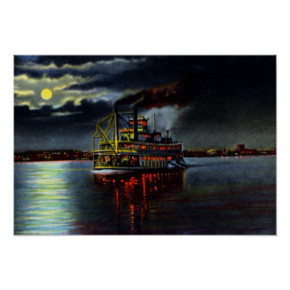 Louisville Kentucky Moonlight on the Ohio Poster