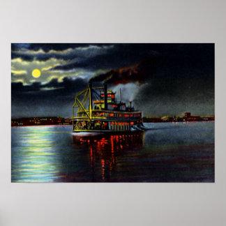 Louisville Kentucky Moonlight on the Ohio Posters