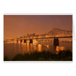 Louisville Kentucky Night Lights Bridge Ohio River Card