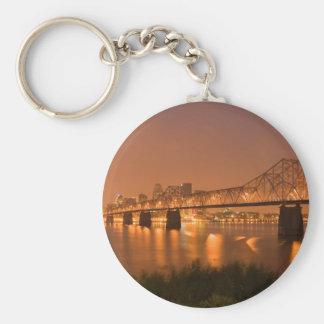 Louisville Kentucky Night Lights Bridge Ohio River Keychain