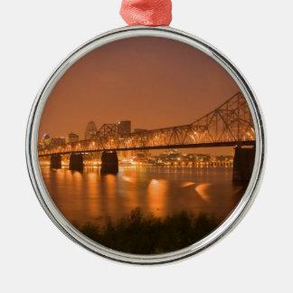 Louisville Kentucky Night Lights Bridge Ohio River Metal Ornament