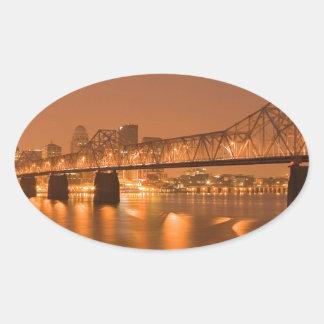 Louisville Kentucky Night Lights Bridge Ohio River Oval Sticker