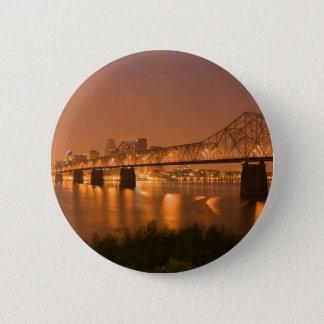 Louisville Kentucky Night Lights Bridge Ohio River Pinback Button