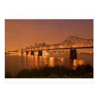 Louisville Kentucky Night Lights Bridge Ohio River Postcard