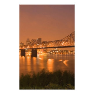 Louisville Kentucky Night Lights Bridge Ohio River Stationery