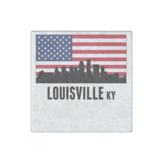 Louisville KY American Flag Stone Magnet