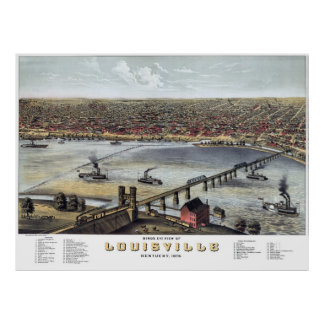 Louisville KY Panoramic Map DIGITALLY REMASTERED Print