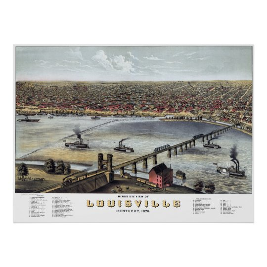 Louisville KY Panoramic Map DIGITALLY REMASTERED Poster