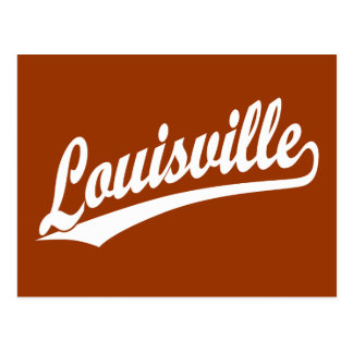 Louisville script logo in white postcard