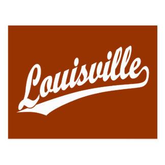 Louisville script logo in white postcards