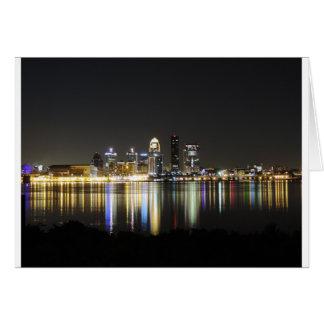 Louisville skyline at night card