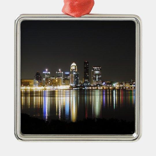 Louisville skyline at night metal ornament