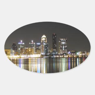 Louisville skyline at night oval sticker