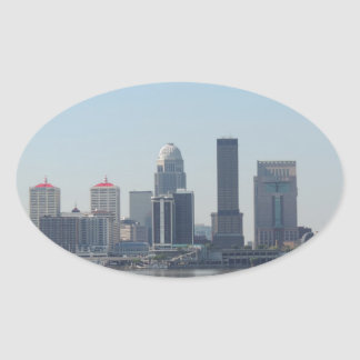 Louisville skyline during the day oval sticker