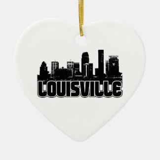 Louisville Skyline Double-Sided Heart Ceramic Christmas Ornament