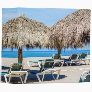 Lounge Chairs And Thatch Umbrellas On Beach 3 Ring Binder