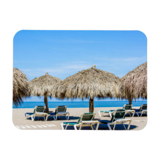 Lounge Chairs And Thatch Umbrellas On Beach Magnet