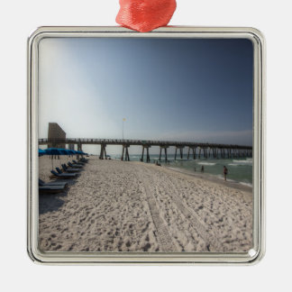 Lounge Chairs at Panama City Beach Pier Metal Ornament