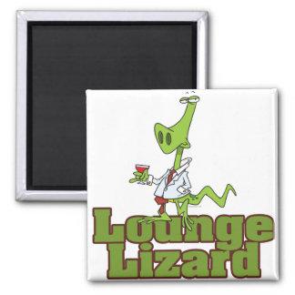 lounge lizard cartoon 2 inch square magnet