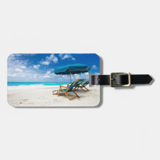 Lounges on the beach luggage tag
