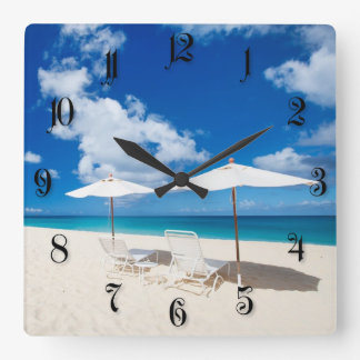 Lounges on the beach square wall clock
