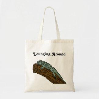 Lounging Around Iguana Lying On Branch Tote Bag