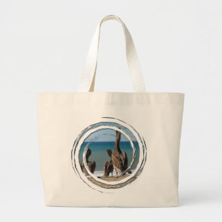 Lounging Beach Pelicans; No Text Canvas Bags