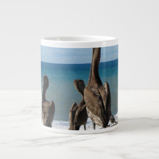 Lounging Beach Pelicans; No Text Giant Coffee Mug