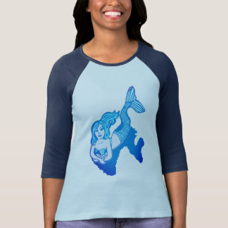 Lounging Blue Mermaid Women's Raglan T-Shirt