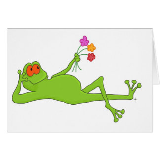 Lounging Frog With Bouquet Greeting Card