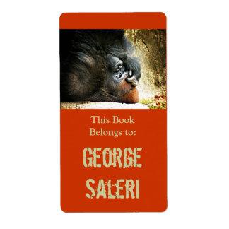 Lounging Gorilla Bookplates Label
