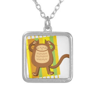 Lounging lazee kitty cat silver plated necklace