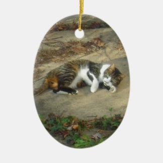 Lounging Lazy Cat Stuff Ceramic Ornament