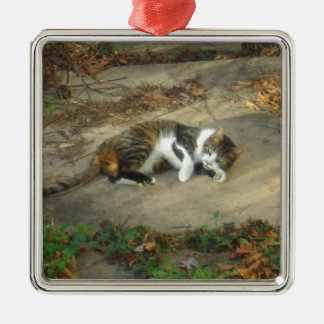 Lounging Lazy Cat Stuff Metal Ornament