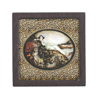 Lounging Leopard Lady Icart Inspired Gift Box Premium Keepsake Boxes