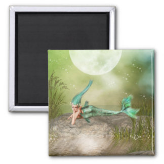Lounging Mermaid 2 Inch Square Magnet