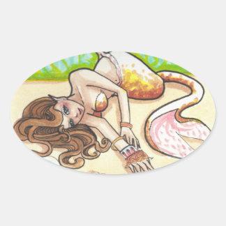 Lounging Mermaid fantasy art stickers