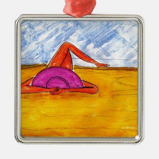 Lounging on the Beach Metal Ornament
