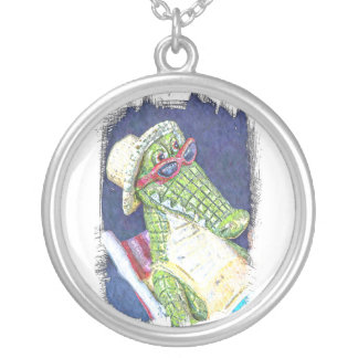 Loungning Lizard Round Pendant Necklace