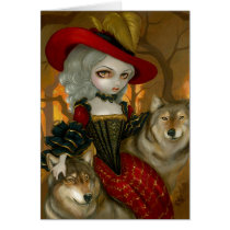 loup-garou, loup, garou, wolf, wolves, werewolf, werewolves, autumn, fall, automne, wolfdog, red, hat, dress, corset, roccoco, dog, dogs, france, french, vampire, vampires, rococo, doll, art, fantasy, eye, eyes, big eye, big eyed, jasmine, becket-griffith, becket, griffith, jasmine becket-griffith, jasmin, strangeling, artist, goth, Card with custom graphic design